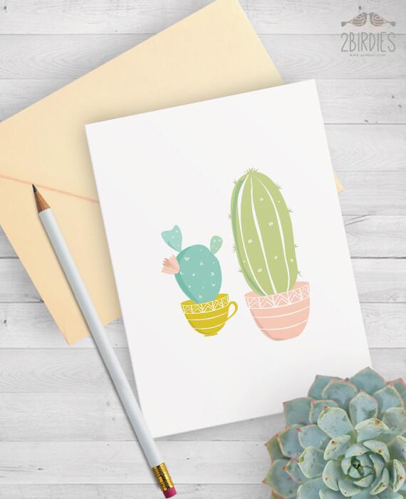 Картичка с Кактуси