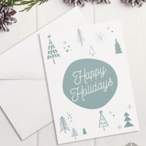 Картичка Happy Holidays - светлосива