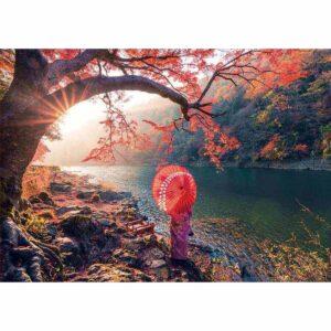 Изгрев при река Кацура - картина