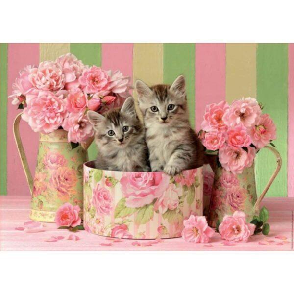 Котенца сред рози - картина