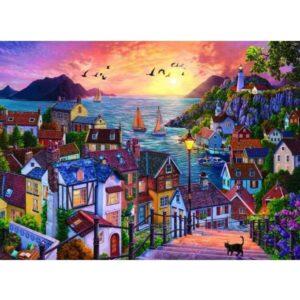 Крайбрежен град при залез слънце - картина