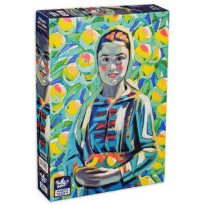 Мома с ябълки - български пъзел от картина на Майстора