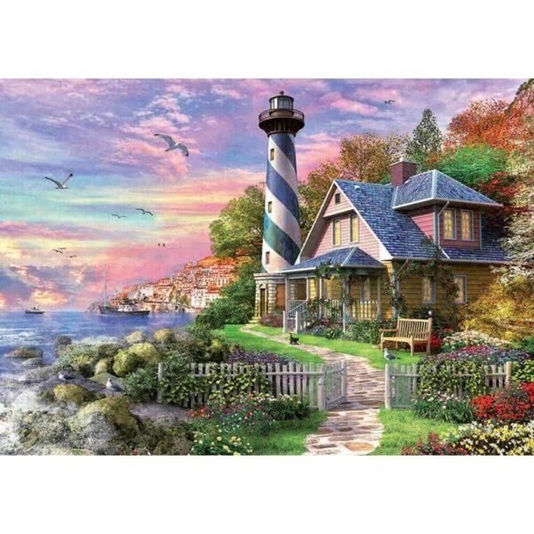 Фар край скалистия залив - картина