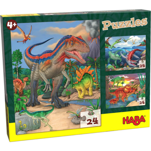 Пъзел Haba - Динозаври - 3 в 1 - кутия
