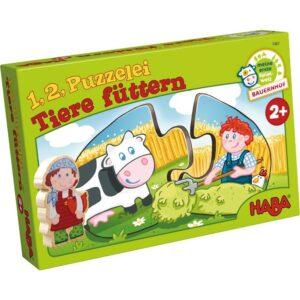 Детски пъзел Haba - Хранене на животните - кутия