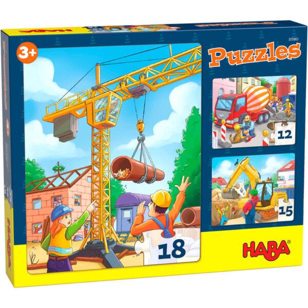 Детски пъзел Haba - Строителни обекти - кутия