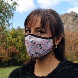 Предпазна маска за лице с котета - розова