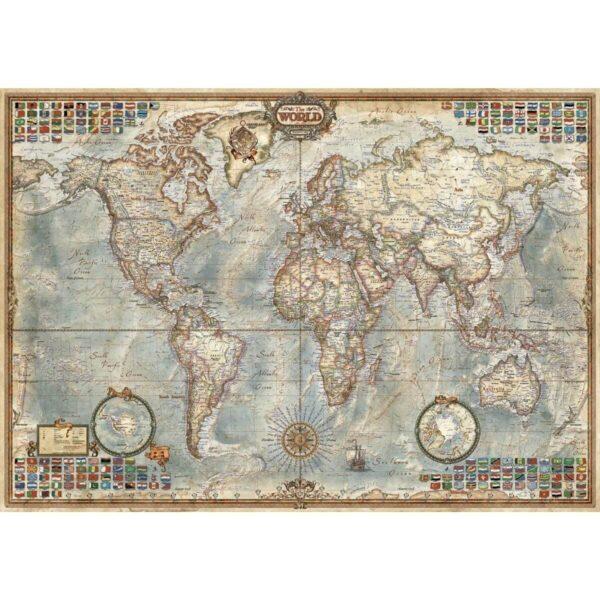 Политическа карта на света - Миниатюра - 1000 части