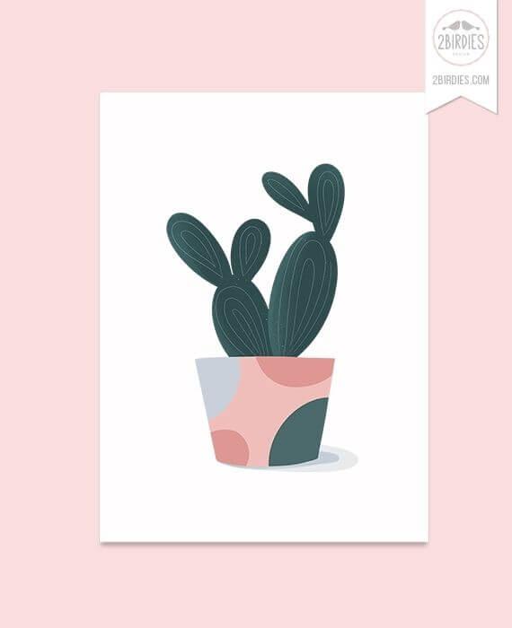 Картичка с Кактус - дизайнерска картичка