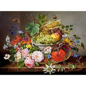 Castorland - Натюрморт с цветя и плодове - 2000 части - картина