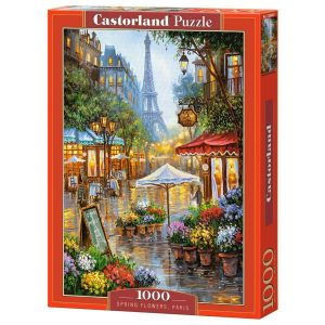 Castorland - Пролетни цветя, Париж - 1000 части - кутия