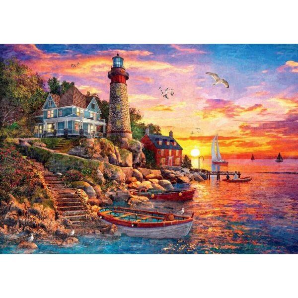 Black Sea Puzzles - Залез край морски фар - Български пъзел - 1000 части - картина