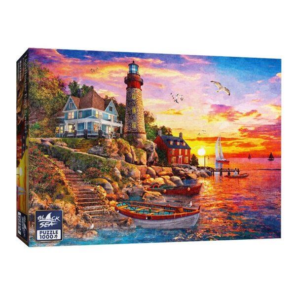 Black Sea Puzzles - Залез край морски фар - Български пъзел - 1000 части - кутия
