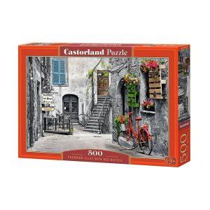 Castorland - Алея с червен велосипед - 500 части - кутия
