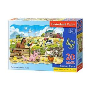 Castorland - Животни във фермата - 20 XXL части - кутия