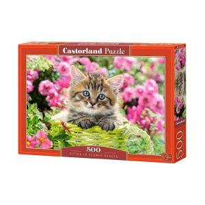 Castorland - Коте сред градински цветя - 500 части - кутия