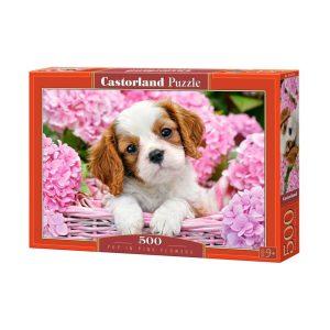 Castorland - Кученце в розови цветя - 500 части - кутия
