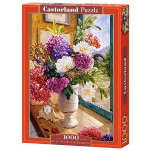 Castorland - Натюрморт с хортензии - 1000 части - кутия