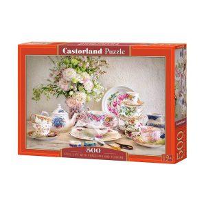 Castorland - Натюрморт с порцелан и цветя - 500 части - кутия