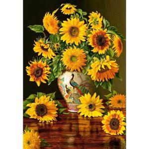 Castorland - Слънчогледи във ваза с пауни - 1000 части - картина