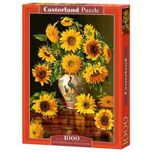 Castorland - Слънчогледи във ваза с пауни - 1000 части - кутия