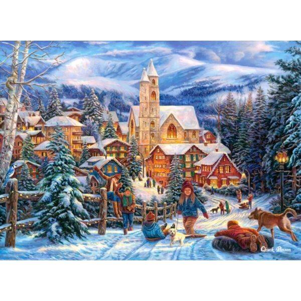 Castorland - Спускане с шейна към града - 300 части - картина