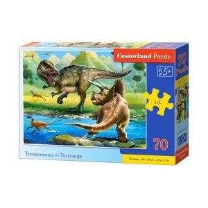 Castorland - Тиранозавър срещу Трицератопс - 70 части - кутия