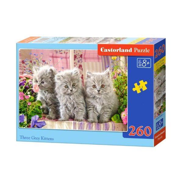 Castorland - Три сиви котенца - 260 части - кутия